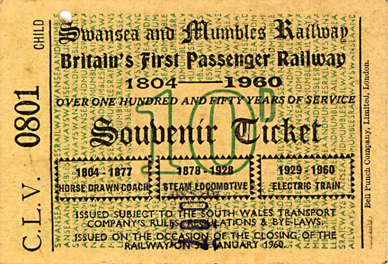 1960ticket - The Swansea & Mumbles Railway